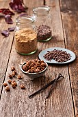 Ingredients for tiger nut cookies with cacao nibs