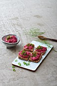 Beetroot hummus on wholemeal bread