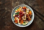 Beetroot salad with spiralized carrot and apple