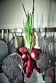 Red Tropea onions on a hook rack