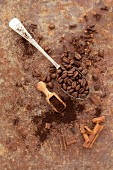 Coffee beans, ground coffee and cinnamon