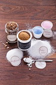 Various types of sugar for baking (refined sugar, sugar nibs, icing sugar, vanilla sugar, rock sugar, brown sugar, and decorative sugar)