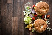 Bagel sandwiches with turkey breast and vegetables