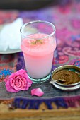 Pink blossom horchata with almond milk