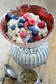 Berry porridge with cinnamon and coriander