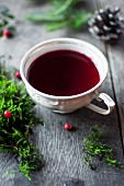 Borscht (traditional Polish soup made with vegetable stock and beetroot for Christmas)