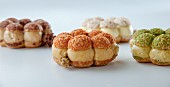 Different kinds of Paris-Brest (choux pastry wth a praline-flavoured cream)