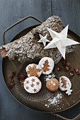 Gluten-free homemade gingerbread on a tin plate for Christmas