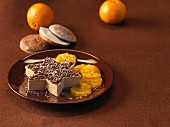 A gingerbread mousse 'star' with orange slices