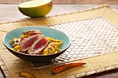 Seared tuna on a mango salad
