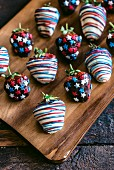 Strawberries in chocolate with USA flag decoration, 4th of July concept