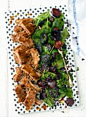 Grilled ribs with spinach and beetroot