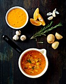Tomato soup with potatoes and oranges