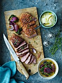 Duck breast slices with cauliflower puree