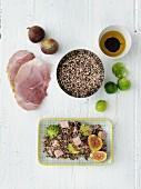 Quinoa mit Schinken, Rosenkohl und Feigen