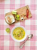 Chickpea soup with leeks, chilli and ginger