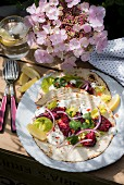 Beetroot and lamb kofte with yoghurt on tortillas