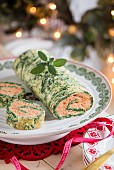 Spinach roulade filled with tomatoes and ricotta for Christmas dinner