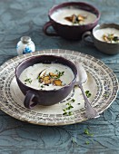 Artichoke cream soup with fried stone mushrooms
