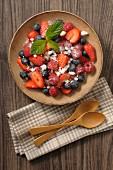 Berry salad with meringue