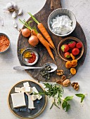Basic ingredients for making bread spreads