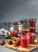 Homemade rhubarb jam in various jars