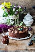 A chocolate sponge cake with chocolate cream