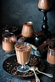 Chocolate panna cotta in dessert glasses