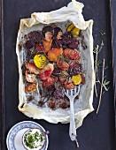 Three varieties of roast beets with a herbal dip