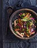 Lukewarm chard and lentil salad