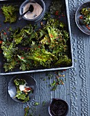 Kale crisps with an aioli dip