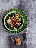 Beetroot salad with blackberries and mung bean sprouts - 'Indian Summer'