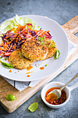 Quinoa and potato fritter with chia seeds