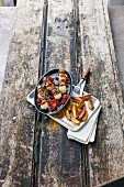 Shish kebabs with fried potato wedges