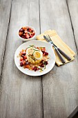 Berliner Senfei (eggs and potatoes) with beetroot and potato mash