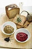 Beetroot and herb spread, and eggplant and sesame spread