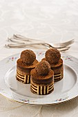 Petit fours with chocolate truffles