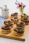Chocolate choux pastry rings