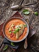 Gazpacho mit Gemüsetatar und Doradenfilet