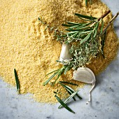 Polenta, garlic and herbs