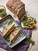 Sandwiches with houmous and rosemary vegetables