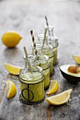 Avocado and pineapple shakes with coconut milk
