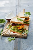Bombay potato sandwiches with coriander chutney