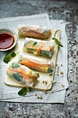 Spring rolls with a tangerine dip