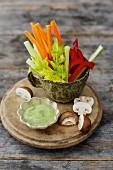 Raw veg sticks with a herb dip