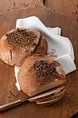 Wholegrain crusty bread, sliced