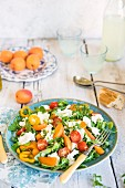 Salad with fresh apricots and mozzarella cheese, rocker, peppers and cherry tomatoes