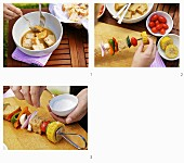 How to make vegetable skewers with vinaigrette bread chunks