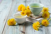 Dandelion tea in small bowls