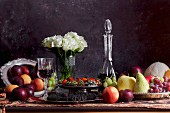 Fruit and vegetables on a table in the style of an old painting